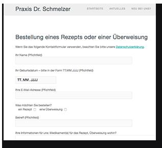 Bildschirmfoto Kontaktformular